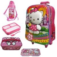 Jual Tas Sekolah Trolley Anak SD Hello Kitty Paket Lengkap Murah