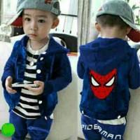 Baju Setelan Jaket 3in1 Anak Laki-Laki/Cowok -Set New Polo Spider BLUE