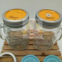 Gelas Drinking Jar Mug (Mason) : 450ml Dengan Tutup Aluminum DOUBLE