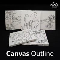 Kanvas Outline Bunga 30x20 cm