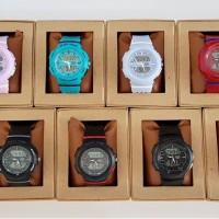 Jam Tangan Wanita/Cewek merk Alfa Original Double Time Rubber/Karet