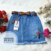Jual Rok span jeans anak motif bordir bunga Murah
