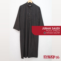 Jubah Saudi Syauqi Wool Strech - Hitam Motif