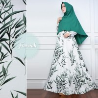 PUTIH HIJAU Gamis Set Amunzen Motif Daun Syari Baju Busana Muslimah