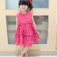 Midi Dress Brokat Anak Pink