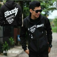 Jaket Bloods Hitam Sweater Pria Wanita Distro Grosir Bandung