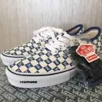 Vans Classic Authentic Blue Supreme Checker Sepatu Tali Biru Pria