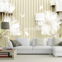 Wallpaper Dinding Custom Flowers- Wallsticker Custom Flowers