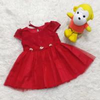 Baju Dress Pesta Anak Bayi Perempuan Brokat Rok Tile Merah