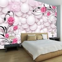 Wallpaper Dinding Floral Pink Custom