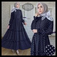 (New Arrival!!) Dress Gamis Nicole Polkadot Navy Baju Busana Muslim