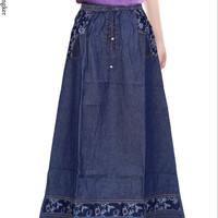 Jual Rok Jeans Unik Bordir Bunga 035 Murah