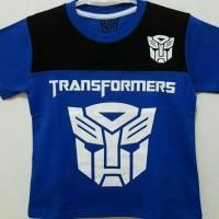 Baju Kaos Anak Cowok Biru. Motif Transformer. Size 1 6. Murah