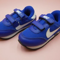 sepatu anak anak sekolah nike kids biru lis putih size 23 - 37