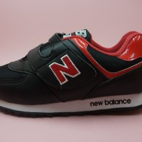 sepatu anak anak sekolah nb kids hitam merah size 23-37