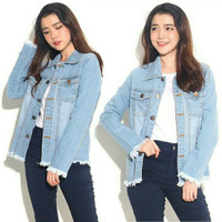 szz Fringe medium overesized light blue / pakaian jaket jeans wanita