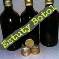 Botol kaca Coklat 330ml lengkap dengan tutup baru
