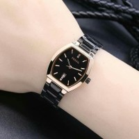 Jam Tangan Wanita Fossil Analog Stainless Black Gold Kw Super
