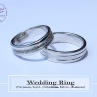 cincin pernikahan emas putih 18k AuPd + palladium 95%