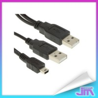 Kabel Mini 5 Pin ke 2 USB Male 80CM - Black
