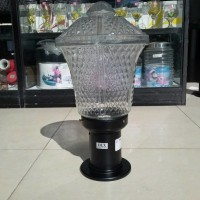 Lampu hias kaca outdoor pilar minimalis  Tinggi 45,5cm Lebar 25cm