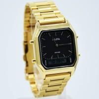 (Murah) Jam Tangan Wanita ALFA W-8003 Original Stainless Gold Black