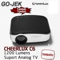 CHEERLUX C6 Mini LED Projector 800x480 1200Lm (Bisa ke antena TV)