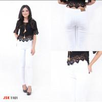 Celana Jeans Highwaist Skinny JSK 1101 White Elegan dan Trendy