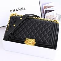 Tas Wanita Tas Chanel Boy Lambskin Gold #9006 with Box