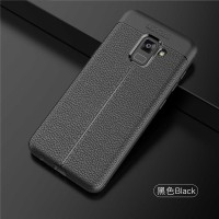 Samsung A8 - A8 2018 soft case casing hp back cover LEATHER AUTO FOCUS