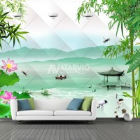 Wallpaper printing Custom Murah - Wallpaper Custom Tema Bambu Nature
