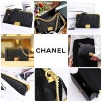 Tas Murah Tas Fashion Batam Impor Chanel WB 9006 Boy Lambskin Gold