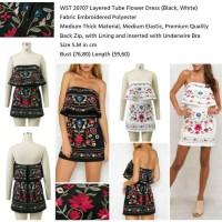 Layered Tube Flower Dress (WHITE,Black size S,M) -20707
