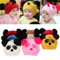 KUPLUK ANAK IMPORT LUCU USIA 1 - 5 TAHUN MOTIF PANDA RAJUT BABY HAT