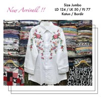 Kemeja Putih Big Size LD 124 cm Bordir Lengan Panjang Muslim Katun 756d00f287