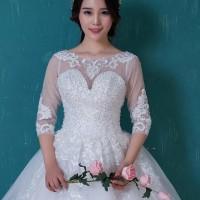 Gaun Pengantin 1803017 Putih Lengan Siku Wedding Gown