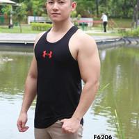 Singlet Tank Top Olahraga Gym Fitness Pria Under Armourr Hitam 6206