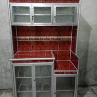 Lemari Rak Piring 3 Pintu Super Aluminium Keramik Merah Cantik Murah