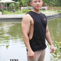 Singlet Tank Top Lowcut Gym Fitness Pria Under Armourr Hitam 5782