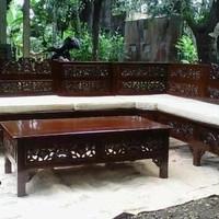 kursi tamu sudut ukiran minimalis jati - furniture - meja makan
