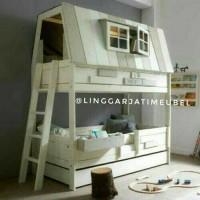jual bed tingkat susun sorong ranjang rumah anak house divan tingkat