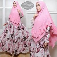Monalisa zalora pakaian syari bergo gamis wanita muslim muslimah pink