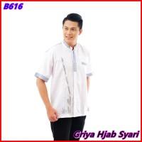 Baju Koko Dewasa Lengan Pendek Bahan Katun Premium Warna Putih - GHS