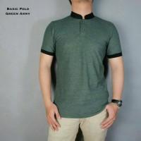 BAJU KAOS PRIA Kaos Polo Shirt Pria Kerah Shanghai Hijau Army Kerah