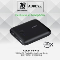Jual Aukey PB-N42 Pocket 10000mAh Power Bank - Hitam Murah