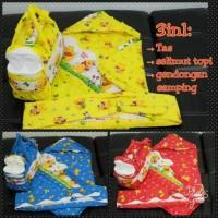 set 3in1 tas botol perlengkapan bayi selimut topi gendongan karakter
