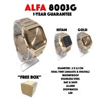 Jam Tangan Alfa 8003G Rantai Dual Time Original Waterproof
