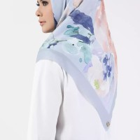 Buttonscarves Peonies Square Scarf 2.0 Viole Cotton