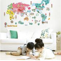 wall sticker wallsticker sticker dekorasi dinding world map DLX159