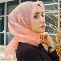 Hijab Segi Empat Rubi Dot Organza   Jilbab Rubi Polka Organdi